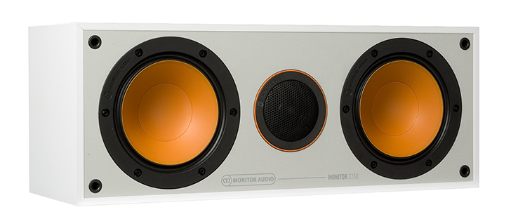 The C150 in white, with black bezels and orange woofers