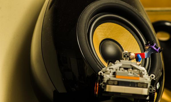 """ToDoodleDesign via Twitter: """"For my #hifi themed #photo my #Lego #DeLorean and @ScandynaUK #theDrop speakers"""""""